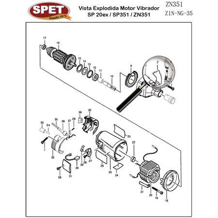 Alça de Apoio Pos 7 / Ref 4320101002 / Peça para Motor Vibrador ZN351 Alça de Apoio Pos 7 / Ref 4320101002 / Peça ZN351