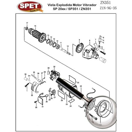 Defletor de Ar Pos 18 / Ref Bosch F000604003 Pos 31 / Peça para Motor Vibrador ZN351 Defletor de Ar Pos 18 / Ref 4148001002 / Ref Bosch F000604003 Pos 31 / Peça ZN351