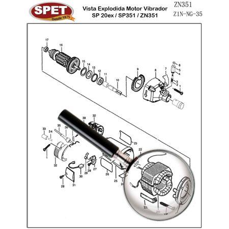 Suporte do Estator Pos 21 / Ref Bosch F000603115 Pos 44 / Peça para Motor Vibrador ZN351 Suporte do Estator Pos 21 / Ref 4148004003 / Ref Bosch F000603115 Pos 44 / Peça ZN351