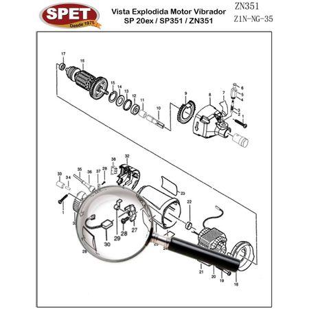 Parafuso do Porta Escovas Pos 28 / Ref 49206019 / Peça para Motor Vibrador ZN351 Parafuso do Porta Escovas Pos 28 / Ref 49206019 / Peça ZN351