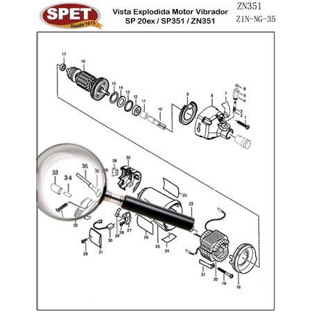 Tubo de Seguro Pos 34 / Ref 4320101008 / Peça para Motor Vibrador ZN351 Tubo de Seguro Pos 34 / Ref 4320101008 / Peça ZN351